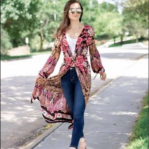 Angie Floral Print BOHO Duster Kimono Size Large